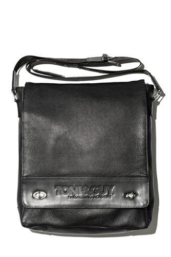 T & G Stylist Bag Large Czarna skóra / skóra torba na ramię, czarny